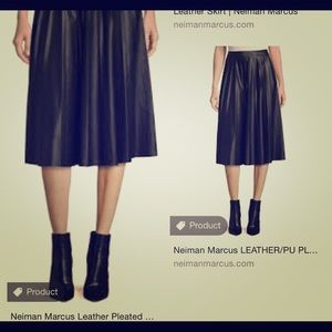 Neiman Marcus black pleated leather skirt